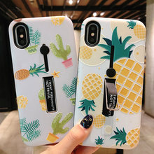 Hide Ring Stand Holder Case For iPhone 7 8 6 6s Plus Pineapple leaf Marble Phone Cases For iPhone X XS PC Back Cover(China)