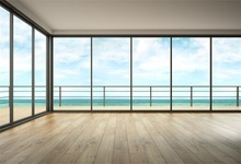 Laeacco Sea View Room French Window Portrait Scene Photographic Backgrounds Customized Photography Backdrops For Photo Studio