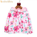 Floral Print Autumn Baby Girls Jacket With Hooded Kids Clothes Toddler Casual Coat Outerwear Children Windbreaker Enfant Costume