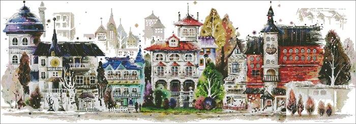 Fishxx Punto Croce C573 di Paesaggio Architettonico Castello Europeo Versione Orizzontale Soggiorno Pittura Del Ricamo A Mano-in Confezione da Casa e giardino su  Gruppo 2