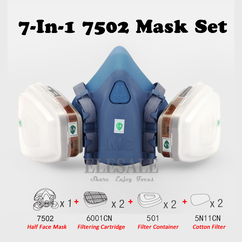 7-In-1 7502 Half Face Mask Dust Gas Chemical Respirator Dual Filter For Spraying Painting Organic Vapor Chemical Gas Safety 7 in 1 7502 half face mask dust gas chemical respirator dual filter for spraying painting organic vapor chemical gas safety