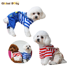 Excessive High quality 100% Cotton Striped Canine Pet Bib Jumpsuits Rompers Garments