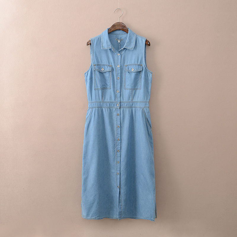2016 Summer Denim Dress Women Vestidos Sleeveless Casual Sexy Dresses S-2xl Clothing - Mint&Blue store