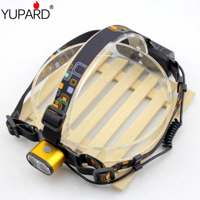 YUPARD 2*XM-L T6 LED Headlamp rechargeable 18650 battery two T6 LED torch light Waterproof high power Camping Hunting Headlight rechargeable 2000lm tactical cree xm l t6 led flashlight 5 modes 2 18650 battery dc car charger power adapter