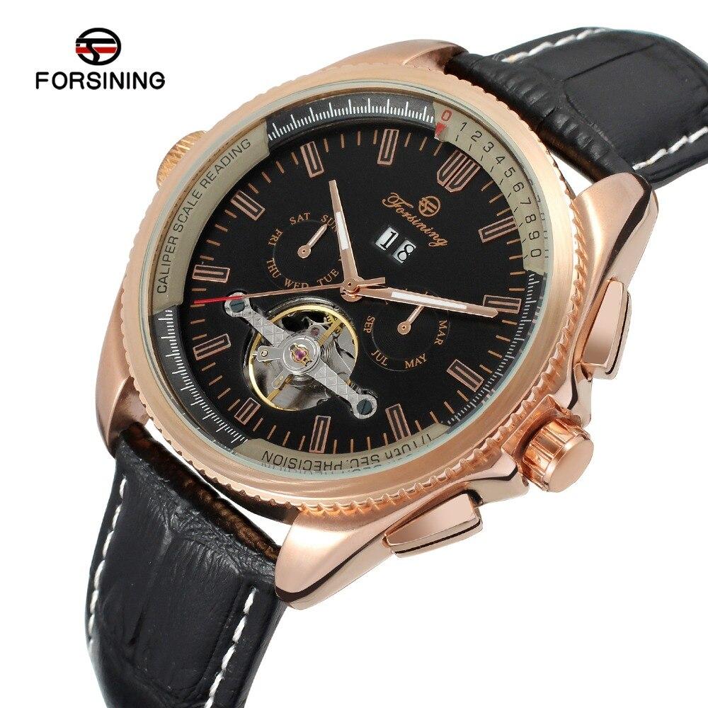 лучшая цена Forsining Men's Watch High End Trendy Automatic Calendar Leather Strap New Design Tourbillion Wristwatch Color Black FSG9411M3