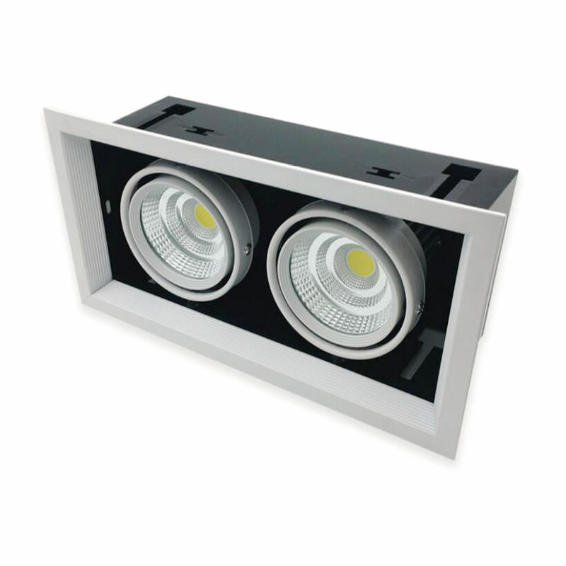 Livraison gratuite Dimmable carré Double blanc chaud blanc froid 2*12W COB LED Downlight LED plafonnier AC85V-265V