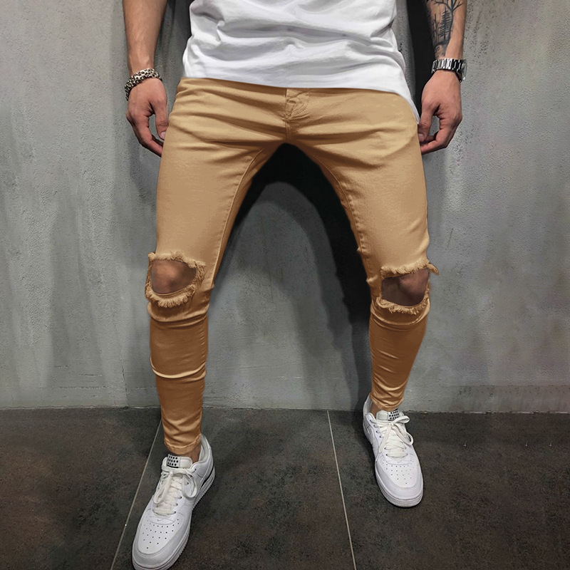 Mens Hip Hop Ripped Skinny Hole Distressed Jeans High Street Wear Fashion Straight Pants