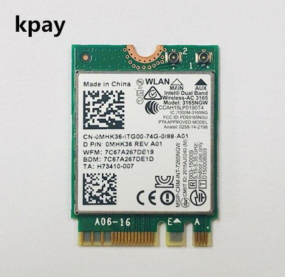 لاسلكي متعدد الموجات التيار المتناوب 3165 NGFF إنتل 3165NGW M.2 802.11ac واي فاي 433Mbps WLAN بطاقة بلوتوث 4.0 2.4G/5Ghz الشبكة