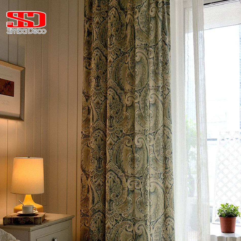 Japanese panel curtains - Linen Curtains For Living Room Cotton Blackout Drapes Blinds European Damask Cortinas For Bedroom Window Treatment Elegant Panel