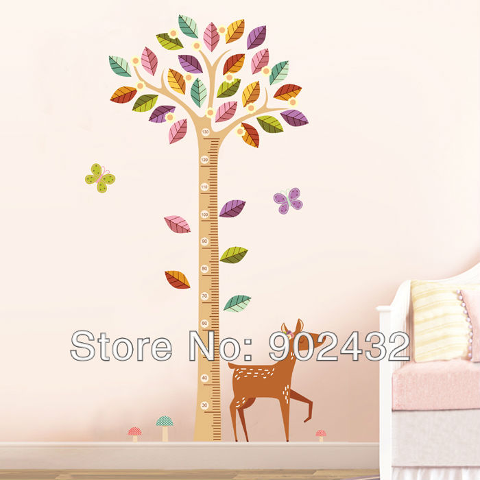 deer and tree wall stickers cartoon sika growth height chart home