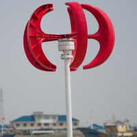 300W vertical wind turbine 12V 24V red white ball type wind generator for land and marine