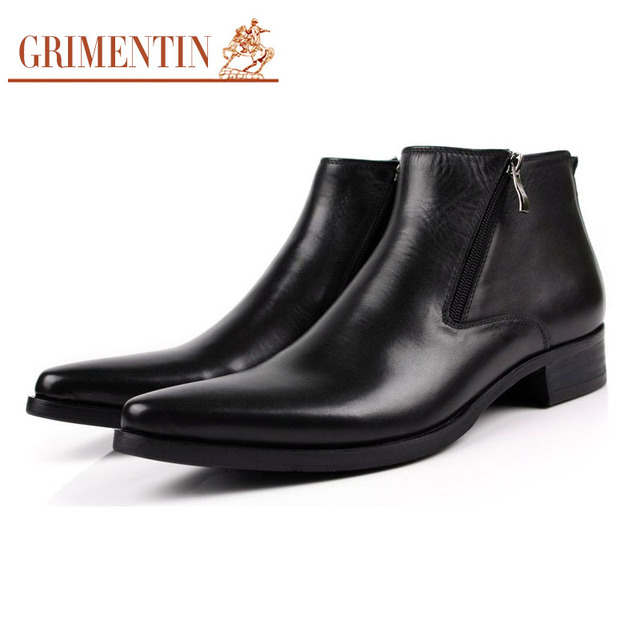 GRIMENTIN men boots genuine leather black Pointed Toe luxury fashion classic business office formal ankle boots men shoes male
