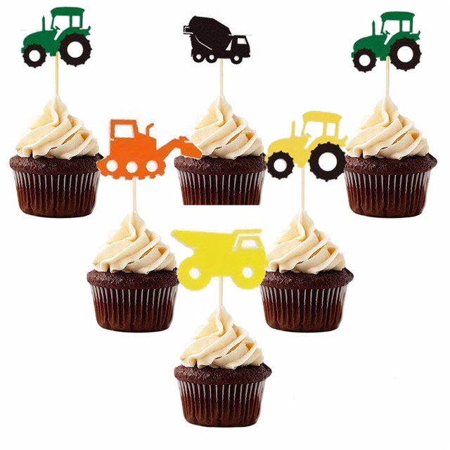 Omilut Construction Cake Toppers Tractor Happy Birthday Banner Party Childrens Decoration Suppli
