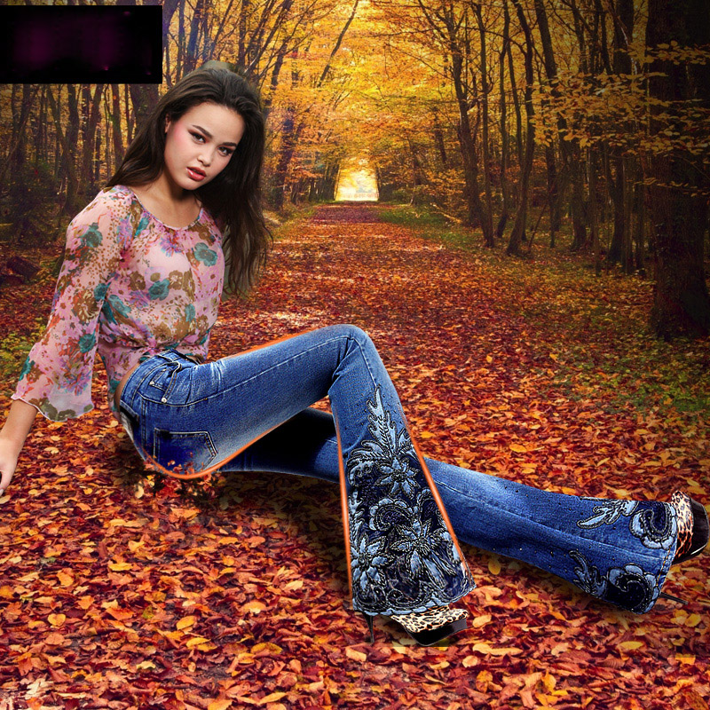 Spring Luxury Beading Embroidered Mid Waist Big Flared Jeans Female Boot Cut Embroidery Lace Bell Bottom
