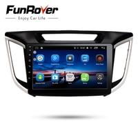 FUNROVER Car Radio Multimedia 10.1 Android 8.0 Audio DVD player headunit for Hyundai ix25 Creta radio tape recorder gps stereo