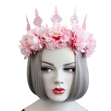 Women Lady Queen Head Wreath Vintage Glitter Pink Crown Rose Flower Tiara Headband Long Ribbon Party Masquerade Cosplay Costume