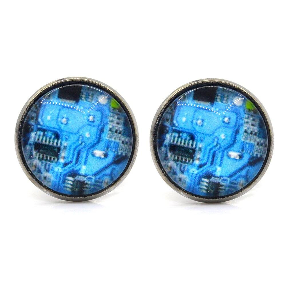 Memolissa 1 Pair Blue Computer Circuit Board Picture Cufflinks Geek Nerd Accessories Gift In Tie Clips From Jewelry