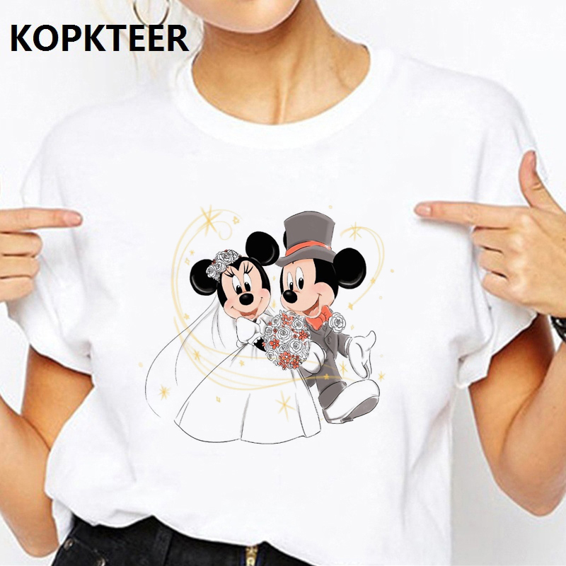 Mickey Minnie Love Kawaii Funny Women Clothes 2019 Harajuku T Shirt Camiseta Mujer Streetwear Vogue Tops Tee Shirt Femme