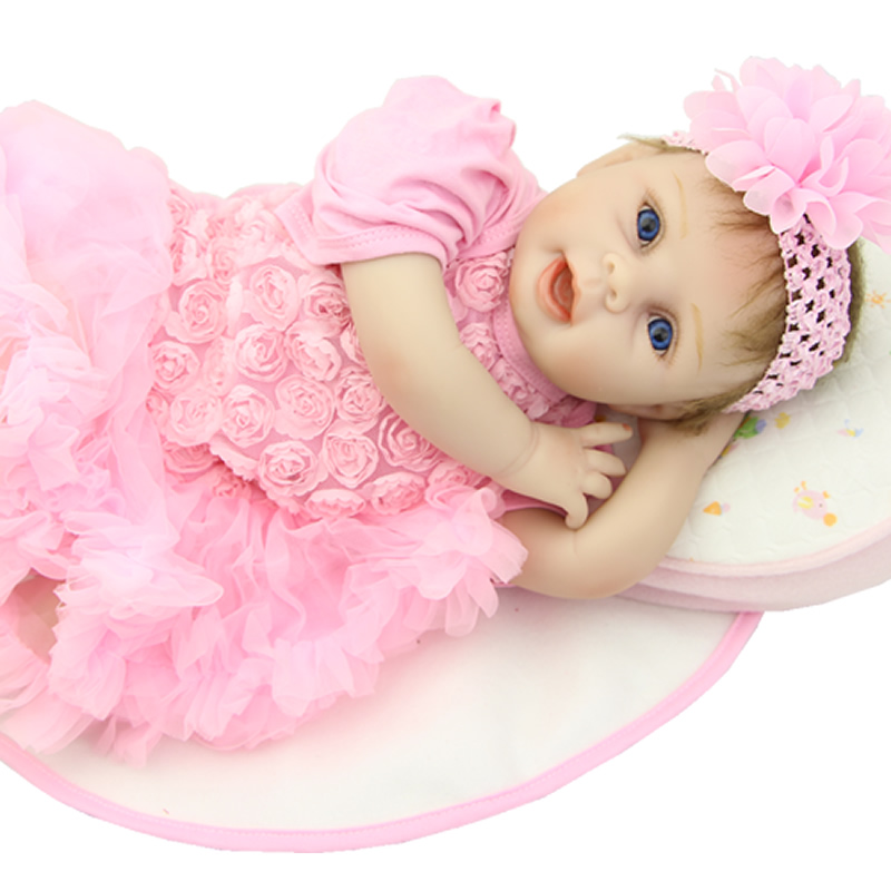 Reborn Lifelike Silicone Baby Dolls 22 Inch Newborn Babies Soft Vinyl Boneca Handmade Princess Girls Kids Holiday Gift