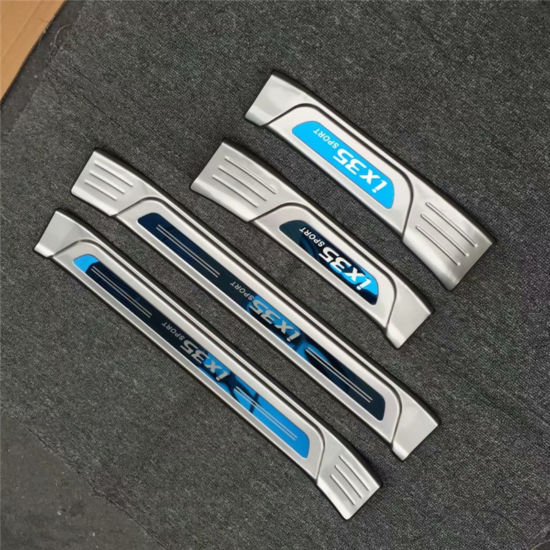 4pcs/set Stainless steel exterior door sill strip fit for 2018 IX35 Threshold trim welcome pedal Scuff plate guard cover stainless steel interior door sills scuff plates guard threshold strip plate welcome pedal 3d sticker for audi a5 2010 2016