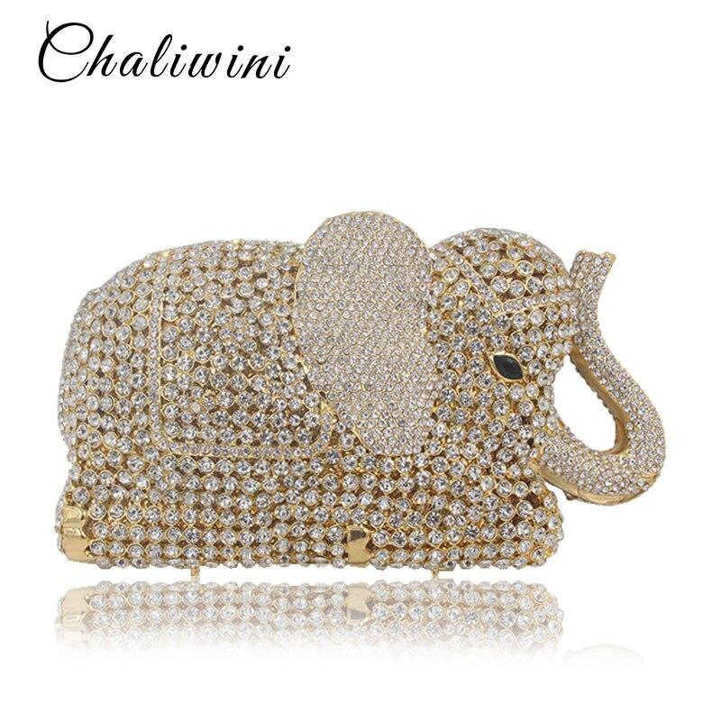 Femmes Bal Sac Mariage Et De Éléphant En 3d Or Main Animal Minaudière Gold Forme colorful Pochette Métal Cristal À Soirée 4xpqZY0wC