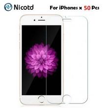 50 יח\חבילה 9 H 2.5D מזג זכוכית עבור iphone XS מקסימום X 5 5S 6 6 s XR 4S פיצוץ הוכחת מסך מגן סרט עבור iphone 8 7 בתוספת