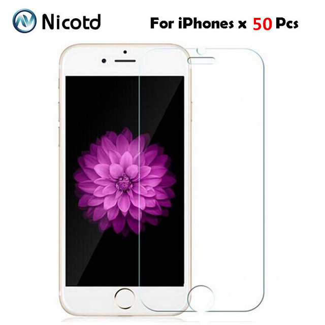 50Pcs/Lot 9H 2.5D Tempered Glass for iPhone XS MAX X 5 5s 6 6s XR 4S Explosion Proof screen protector Film for iphone 8 7 plus
