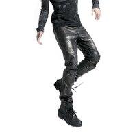Gohtic панк Штаны с заклепками для мужчин рок искусственная кожа брюки для девочек модные Винтаж пустое отверстие мотобрюки женские Высокая т