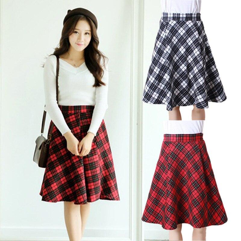 Aliexpress.com : Buy Black Grey Khaki Red Plaid Skirt Autumn ...