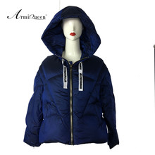 2018 Italy Brand New Style 90% Duck Fur Lined Winter Puffer Coat Navy Color With Personality Stripe