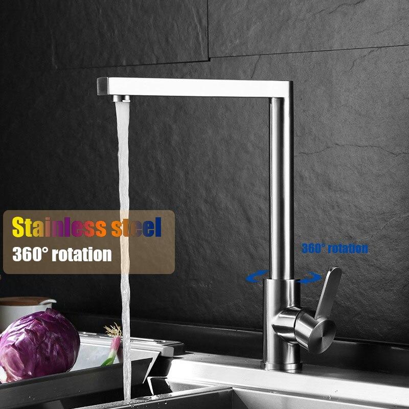 Robinet de cuisine brossé en acier inoxydable 360 degrés rotation évier de cuisine mitigeur robinet d'eau sans peinture pas de surface d'origine chromée