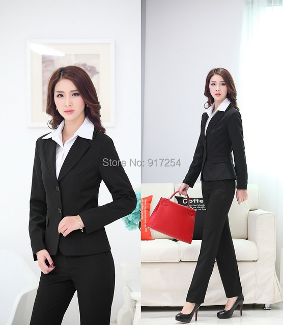 New Plus Size Uniform Style 2015 Autumn Winter Formal Pantsuits Professional Business Work Suits Jackets And Pants Trousers Set