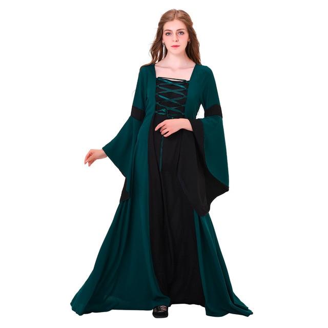 Medieval Renaissance Suknia ślubna Suknia Ciemny Zielony Len