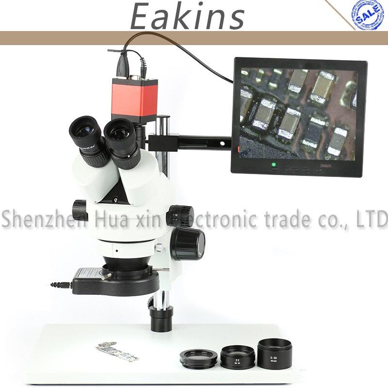 Simul Focale Trinoculare Stereo Microscopio 3.5X 7X 90X + 13MP 720 P HDMI VGA Video Display LCD Della Fotocamera Per Fix riparazione Del Telefono Saldatura