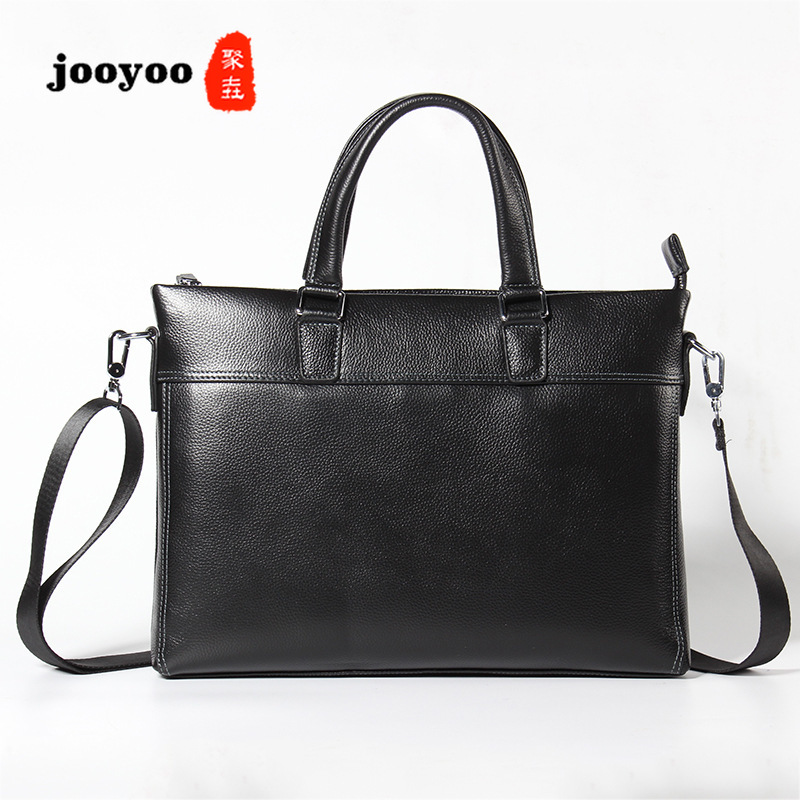 New Men's Leather Portable Cow Leader Briefcase Cowhide Men's Bags Casual Single Shoulder Twisted Bags Large Capacity Bags