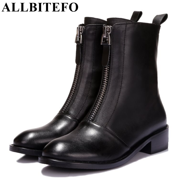 ALLBITEFO fashion flat heel casual zipper ankle boots genuine leather round toe platform martin boots autumn winter women boots round toe flat heel zipper ankle boots