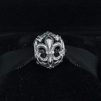 925 Sterling Silver Fleur De Lis Openwork Bead With Clear CZ Fits European Jewelry Bracelets Necklaces