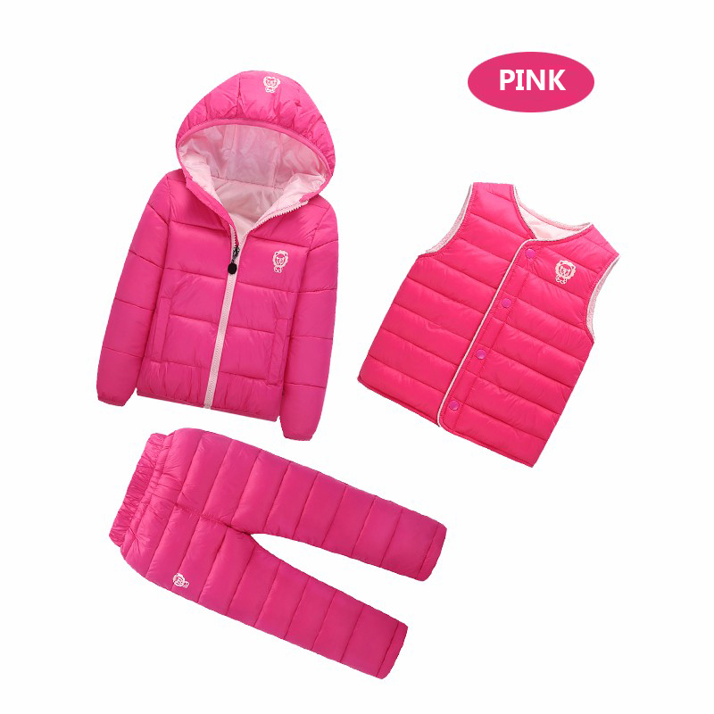 3 Pcs/1 Lot 2017 Winter Baby Girls Boys Clothes Sets Children Down Cotton-padded Coat+Vest+Pants Kids Infant Warm Outdoot Suits 2017 winter children cotton padded parkas clothes baby girls