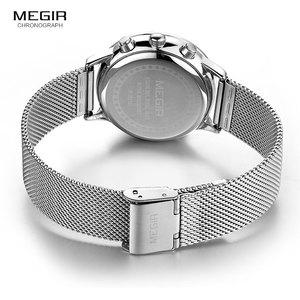 Image 5 - MEGIR קלאסי הכרונוגרף קוורץ שעונים לנשים עמיד למים זוהר 24 שעות אנלוגי פלדת שעון יד לאישה ליידי 2011L 7