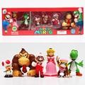 6pcs/set Super Mario Bros Peach Toad Mario Yoshi Donkey Kong PVC Action Figure Toys Dolls New in Box 4~6cm Retail