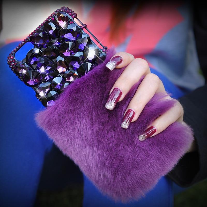 Warm Purple Rabbit Fur Bling Diamond Rhinestone Case For iPhone 6 6S/6 Plus/6S Plus/7 Plus Back