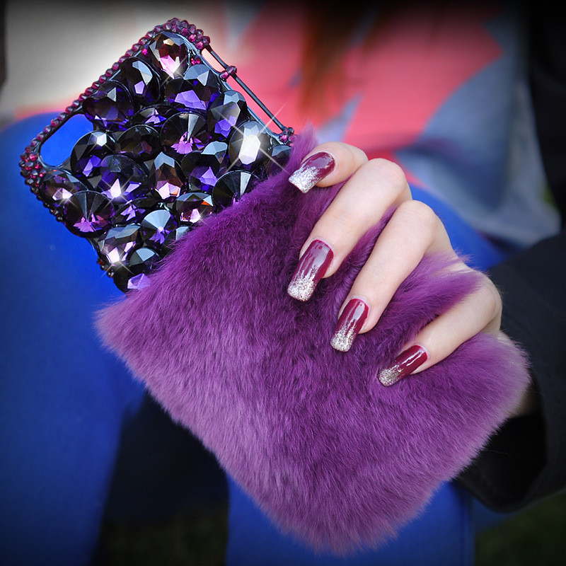 Warm Purple Rabbit Fur Bling Diamond Rhinestone Case For iPhone 6 6S/6 Plus/6S Plus/7 Plus Back Cover