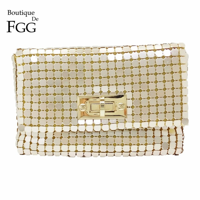 Women Golden Aluminum Metallic Day Clutches Evening Wedding Prom Handbags Party Envelope Clutch Shoulder Crossbody Messenger Bag