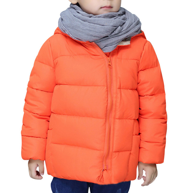 Wholesale Price New Autumn And Winter Kids Children Jacket White Duck Down Solid Hooded Zipper Thickening Fashion Coat