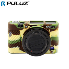 цена на PULUZ Protective Case For Sony RX100 III/IV/V Soft Silicone Camouflage/Black/Coffee/Orange/Yellow Cover Case For SONY