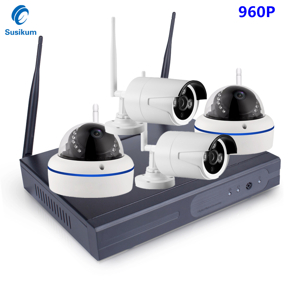 4CH 1.3MP IR HD Home Security Wireless NVR IP Camera System 960P CCTV Set Outdoor Wifi Cameras Video NVR Surveillance CCTV KIT 8ch ir hd home security wifi wireless ip camera system 720p cctv outdoor wifi cameras video nvr surveillance cctv kit 3tb hdd