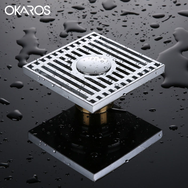OKAROS 10*10cm Square Shower Floor Drain Brass Chrome Finish Anti-odor Shower Waste Water With Hair Strainer Floor Drain Cover free shipping high quality brass floor drain anti odor anti water backing anti virus chrome plated surface diameter is 40mm