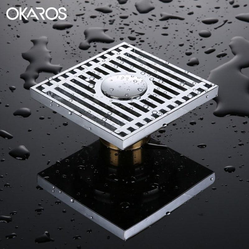 Okaros 10 10cm Square Shower Floor Drain Brass Chrome