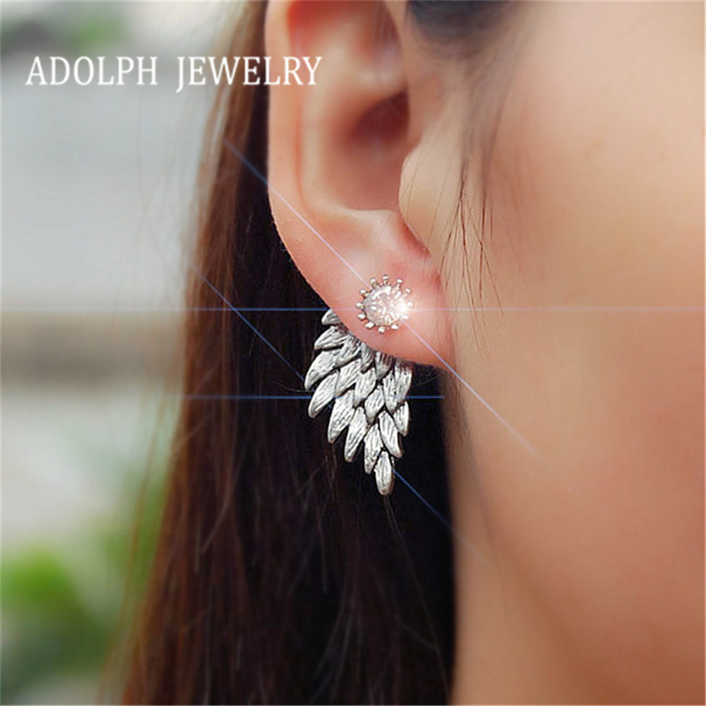 ADOLPH Jewelry 2016 Fashion New Earrings Angels Wings Alloy Rhinestones Stud Earring For Woman 95-ED49 Best Gift Wholesale Hot