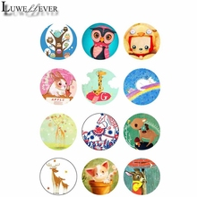 10mm 12mm 14mm 16mm 20mm 25mm 351 12pcs/lot Animals Mix Round Glass Cabochons Jewelry Findings 18mm Snap Button Charm Bracelet